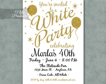 all white party  etsy, invitation samples