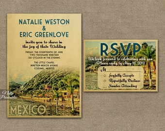 Mexico Wedding Invitation - Printable Vintage Mexican Wedding Invites - Retro Mexico Wedding Set or Solo VTW
