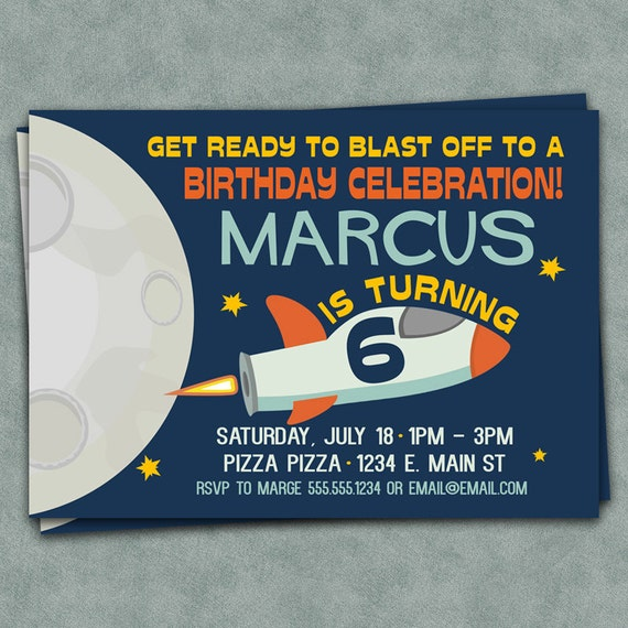 Outer Space Birthday Party Invitations