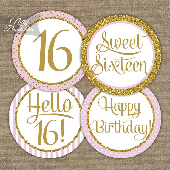 Sweet 16 Birthday Cupcake Toppers Sweet Sixteen Pink & Gold