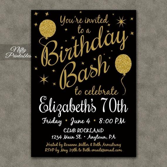 70th Birthday Invitations Printable 70 Black & by ...
