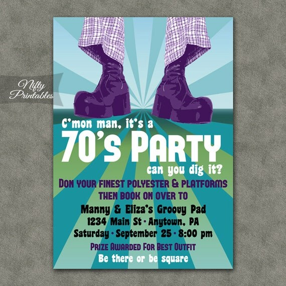 70's Party Invitations Printable 1970s Theme Party