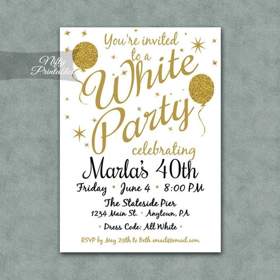 White Party Invitation Printable White Amp Gold Black Tie