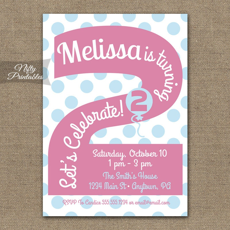 2nd Birthday Invitations Printable Second Birthday – 2 Year Old Birthday Invites