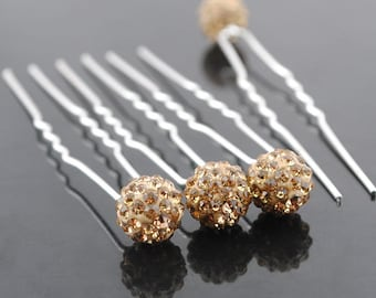 Wholesale Pack of 6 Disco Ball Crystal Rhinestones Hair Pins