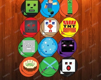 Minecraft-Inspired Circular Cupcake Toppers