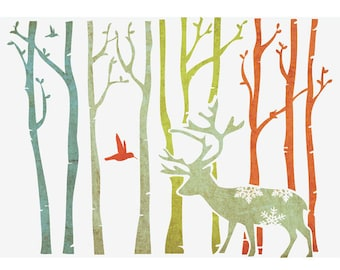 "Wall Stencils for DIY Decor Rooms Kids Template Deer in forest 16.53"" X 11.69"""