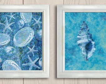 INSTANT DOWNLOAD Teal Blue Colorful Starfish Set of 2 Printable Bathroom Print Art Print Wall Decor Modern Ocean Nautical Beach