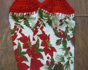 Christmas Pointsettia Towel set with Crochet Topper