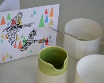 American Indian Bird linocut greeting card