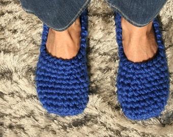 ROYAL BLUE slippers for women - Footwear - Ballet flats - Handmade home shoes - Crochet slippers - Non-slip slippers - Slippers Women