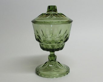 Green Glass Pedestal Candy Dish on Pedestal with Lid Trinket Jewelry Dish Cottage Decor