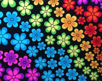 5 Yard/5 Meter Cut Stretch Fabric - Neon Floral Print Four way Stretch Spandex Fabric by the Yard Item# RXPN-FLTR1262013