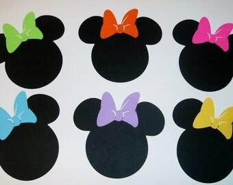Minnie Mouse Multi-Color bows Die Cut #24 pieces (1012E)