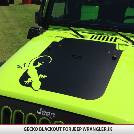 Custom gecko jeep wrangler jk hood blackout decal vinyl for Custom jeep lettering