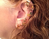 Yellow Coral and Copper Colored Ear Wrap