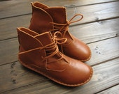 Handmade Shoes,Ankle Boots,Oxford Women Shoes, Flat Shoes, Retro Leather Shoes, Casual Shoes, Short Boots,