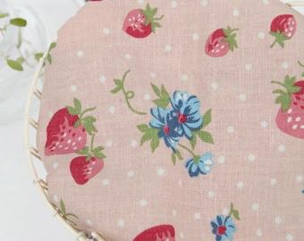 Cotton Linen Fabric Strawberry Indi Pink