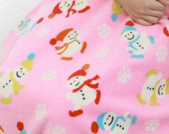 Fleece Fabric Snowman Pink By The Yard