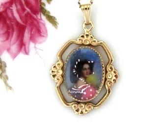 Vintage Tru-Kay Gold Filled Hand Painted Portrait Pendant Necklace