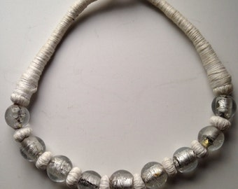 White glass necklace