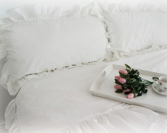 Shabby Chic Cottage Pillow Case Sham With Ruffles