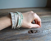 Thirty - Textile Wrap Bracelet - Antique Linens - Thin Stacking Cuff
