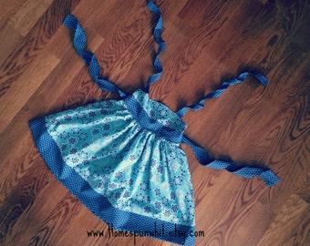 Hadley's Halter Dress, Girls Halter Dress, Blue Floral and Chevron Dress, Chevron Halter Dress, 4T, 5T, Size 6, Size 7, Size 8