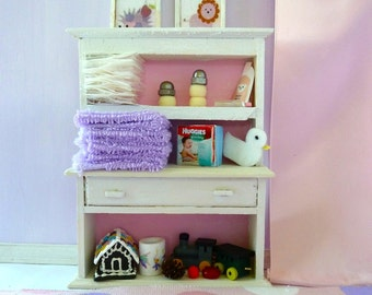 nursery shelves loaded with baby products dollhouse miniature 1/12th scale.