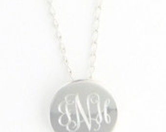 Small Round Silver-Plated Necklace, Pendant