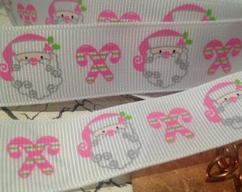 "3 yards 7/8"" Christmas PINK and Green Santa and Candy Cane Grosgrain Ribbon"