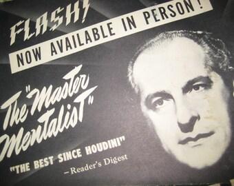 ORIGINAL  DUNNINGER Publicity POSTER The Master Mentalist -UnFramed