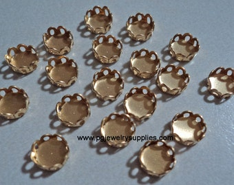 5mm brass round closed back lace edge cup settings 18 pcs lot l
