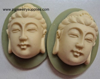 40mm x 30mm high profile buddha resin cameos ivory on green 2 pieces lot l