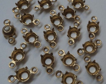 23ss stone size brass prong connector settings 2 rings open back ob2r 18 pc lot l