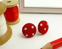 Dotty red fabric earrings   Bright fabric covered button jewellery   Spotty cherry red vintage style accessories