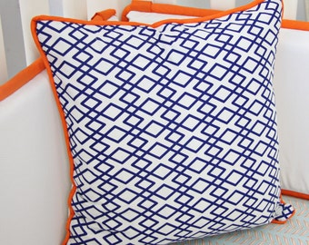 25% off SALE- Aqua & Navy Mod Mix Square Pillow