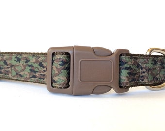Camo Dog Collar - Adjustable, Camouflage, Military, Hunting, Camping