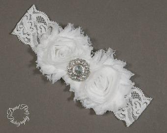 White Garter Wedding Garter White Bridal Garter White Lace Garter Shabby Garter Vintage Garter Prome Garter White Keepsake Garter White Lace
