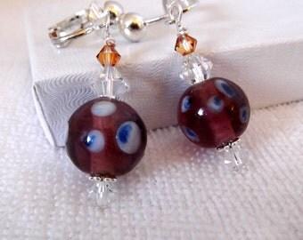 Purple and Blue Polka Dot Lampwork Earrings - Birthday Anniversary Gift - Bridal Jewelry - Lampwork Bead - Clip On Earrings  190657125
