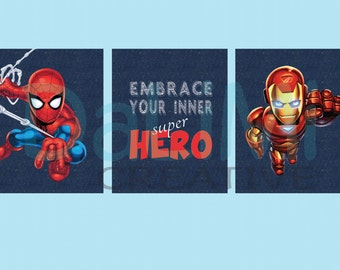Spiderman Art Print - Ironman Nursery Art - Superhero Nursery Decor - Superhero Bedroom Art - Superhero Bedroom Decor - Digital Files