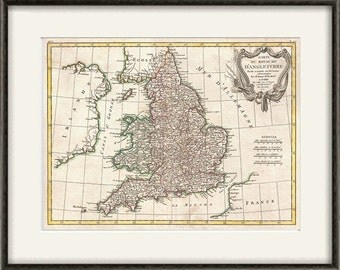 England map print UK map vintage old maps Antique map poster map wall decor home decor wall  map large map old prints british decor 12x16