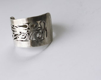 Organic Swirly Sterling Silver Ring US Size 6.75-7