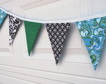 Green, Blue, Black and White Pennant Banner