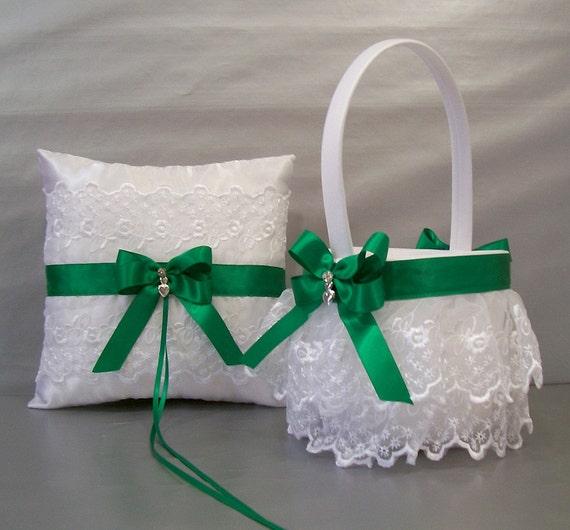 Flower Girl Baskets Green : Emerald green wedding bridal flower girl basket by