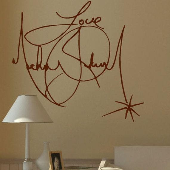 Large michael jackson signature wall mural giant art sticker - Sticker geant mural ...