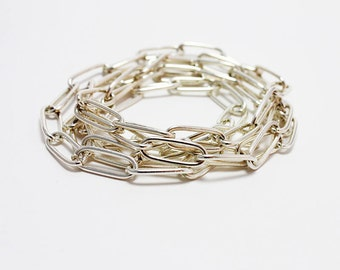 Metal Long Chain Necklace, Wrap Chain Necklace, Metalic Wrap Bracelet