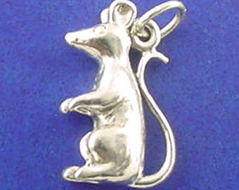 RAT Or MOUSE Charm, Rodent .925 Sterling Silver Charm
