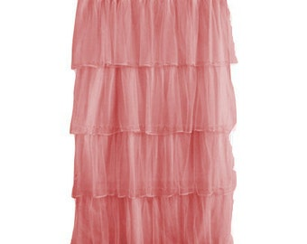 Pair of pink tulle curtains sheer curtains light weight curtains