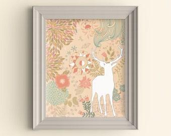 Deer Art Print Deer Silhouette Art Print Flower Art Print Floral Graphic Art Print Woodland Art Print Hipster Wall Art Housewarming gift